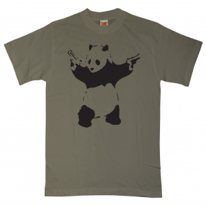 banksyt shirt panda 1 109587 olive l T shirts available from 8ball.co.uk