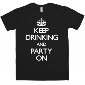 keepdrinkingandpartyontshirt 1 119885 black l T shirts available from 8ball.co.uk