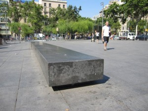 Plaza Universitat Bench 300x225 Barcelona Street riding